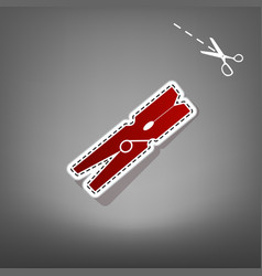 Clothes peg sign red icon with for vector