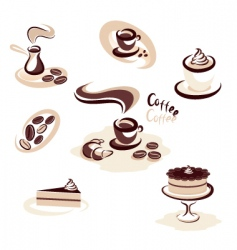 coffee collection vector image vector image