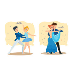 Couples dance rhythmic ballet sensual waltz vector