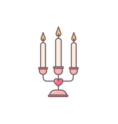 Decorative candelabrum with three candles vector