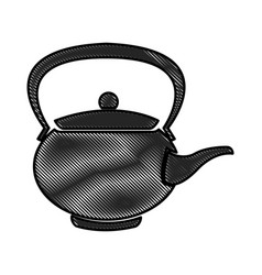 Drawing teapot ceramic japanese culture vector