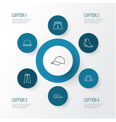 Dress outline icons set collection of fedora vector