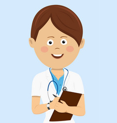female doctor in uniform with clipboard vector image vector image
