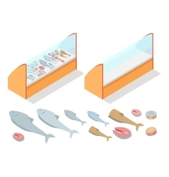 Fish products assortment refrigerator natural food vector