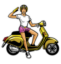 girl ride the scooter vector image