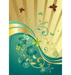 Gold and Green Shamrock Background vector image
