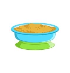 Grain porridge in plate supplemental baby food vector