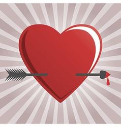 hearts and cupid arrow vector image