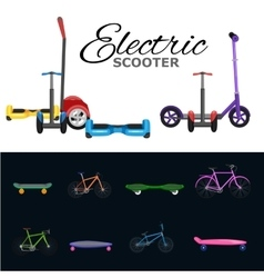 isolated electric scooter one and two-wheeled vector image vector image