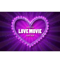 Love movie heart retro banner vector