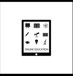 Online education solid icon set e-learning vector