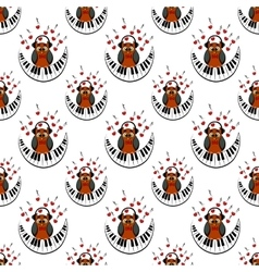 seamless pattern with owl and piano vector image