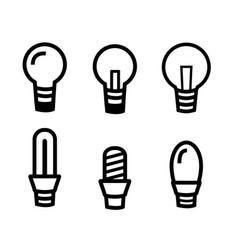 set of light bulb icon on white background vector image