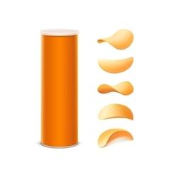 Set of orange box with potato crispy chips vector