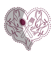 Sticker leaves in form of heart with spoon fork vector