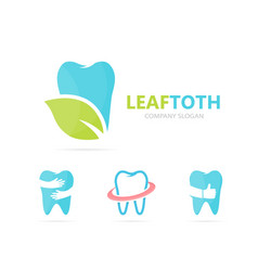 Tooth and leaf logo combination dental vector