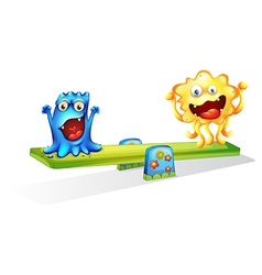 Two monsters playing happily vector image
