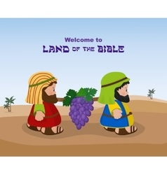 Two spies of israel carrying grapes vector