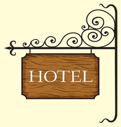 Wooden hotel door sign vector image vector image