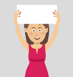 young woman holding an empty blank board vector image vector image