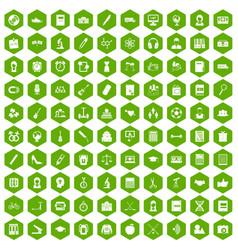 100 hi-school icons hexagon green vector