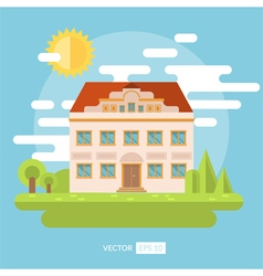 Flat landscape with palace and garden vector image