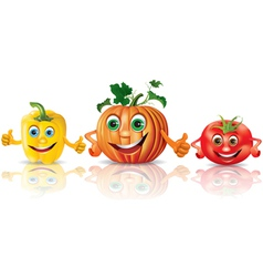 Funny vegetables paprika pumpkin tomato vector
