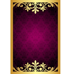 Maroon frame with gold ornament vector