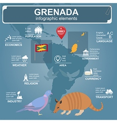 Grenada infographics statistical data sights vector