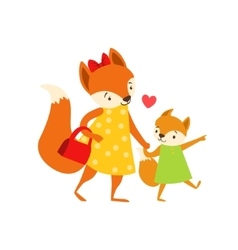 Fox mom in dress with handbag animal parent and vector