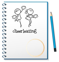 A notebook with a cheerleading design vector image