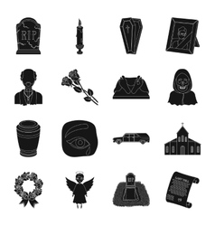 Funeral ceremony set icons in black style big vector