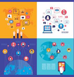 social network technology banner set global vector image