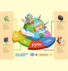 hotel isometric infographics vector image