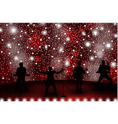 Band show concept with red light and stars set of vector