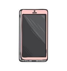 Pink glamorous smartphone isolated vector