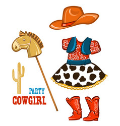 Cowgirl clothes for party isolated on white vector