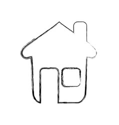 Figure nice house with window and door vector
