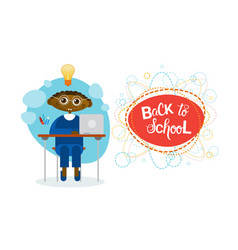 Back to school african american pupil boy sitting vector