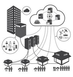 Big data icons set cloud computing and network vector
