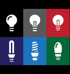 Set of light bulb icon in stencil style vector