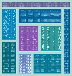 2016 multiple calendars color vector