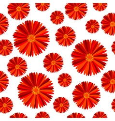 Seamless pattern with red flowers against white vector image