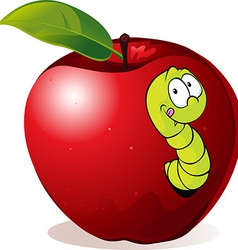 Cartoon worm in red apple vector
