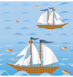 Sailing vessels vector