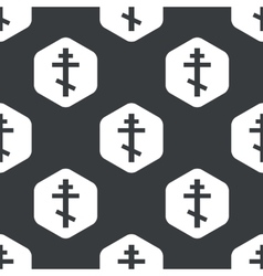 Black hexagon orthodox cross pattern vector