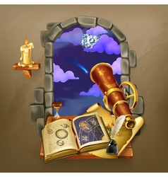 Window in the castle magic and astrology vector