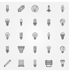 Monochrome bulb icons vector
