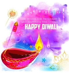 Happy diwali background coloful with watercolor vector