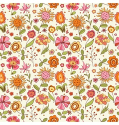 pattern with cartoon flowers vector image